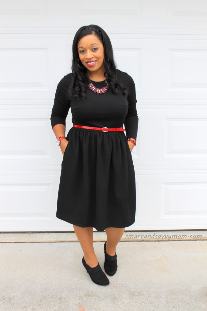little black modest dress with red accents, perfect for fall