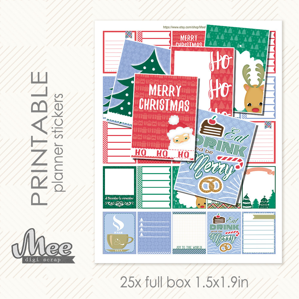 inexpensive christams planner printable stickers from Etsy