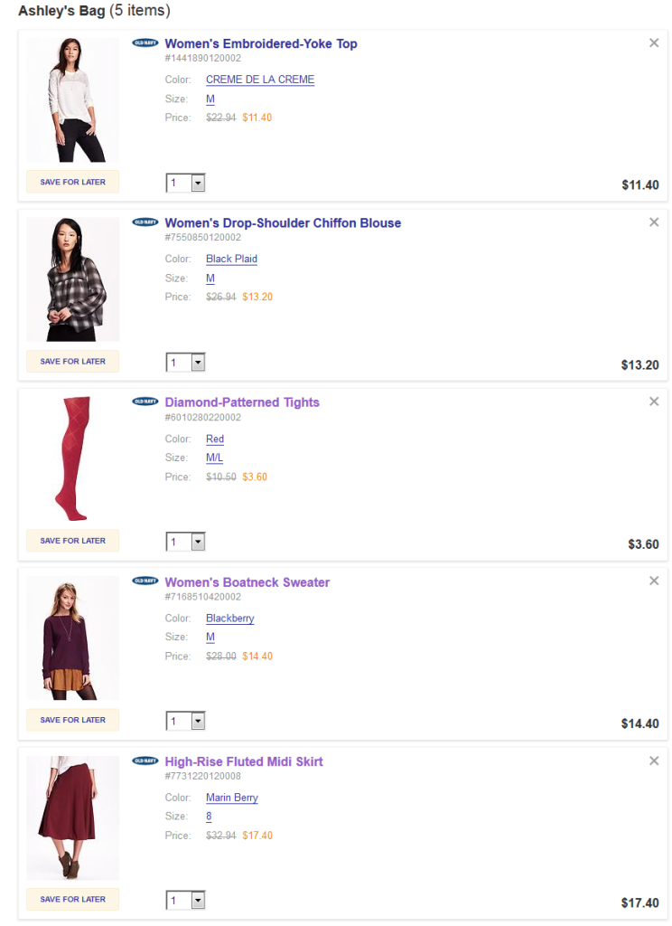 old navy cart fall sale