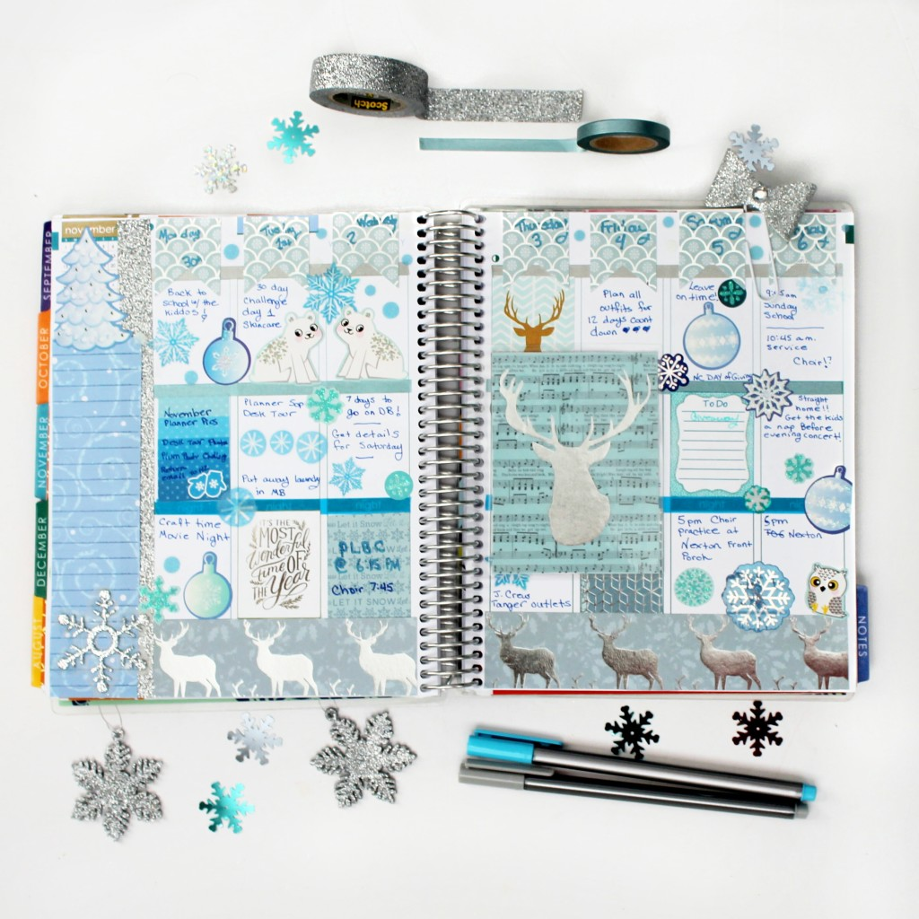 december week 1 in my #ECPlanner. Winter ice blue decorated planner spread