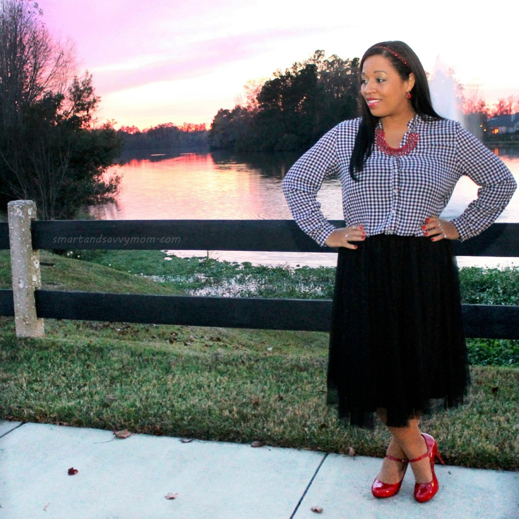 black and white gingham top with black tulle skirt and pops of red, modest holiday outfits with #burkesoutlet
