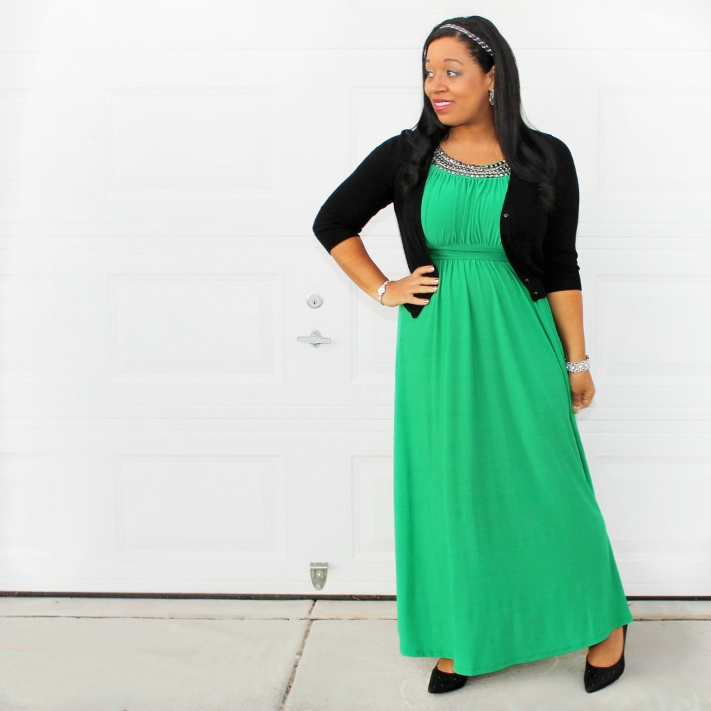 perfectly gorgeous long green modest dress #12daysofmodestchristmas