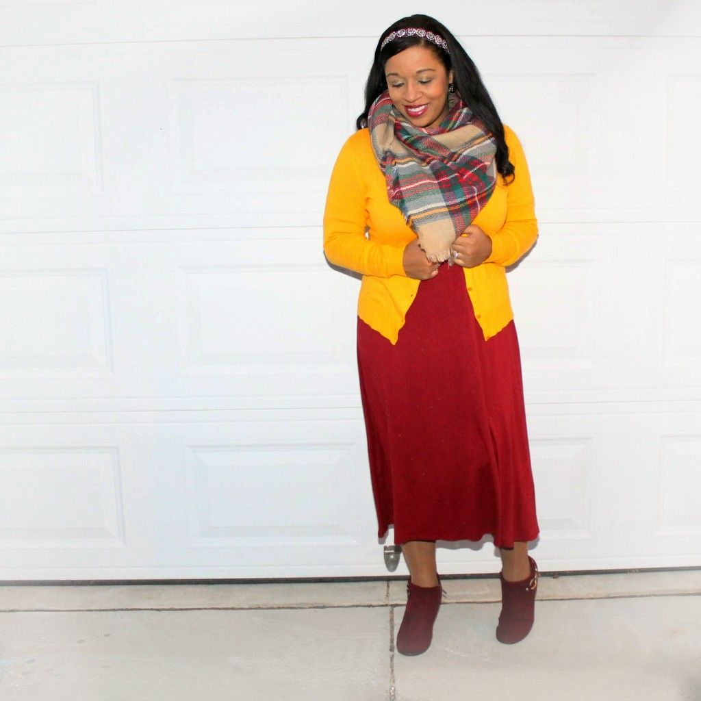 burgundy dress and blanket scarf with mustard cardigan modest outfit idea