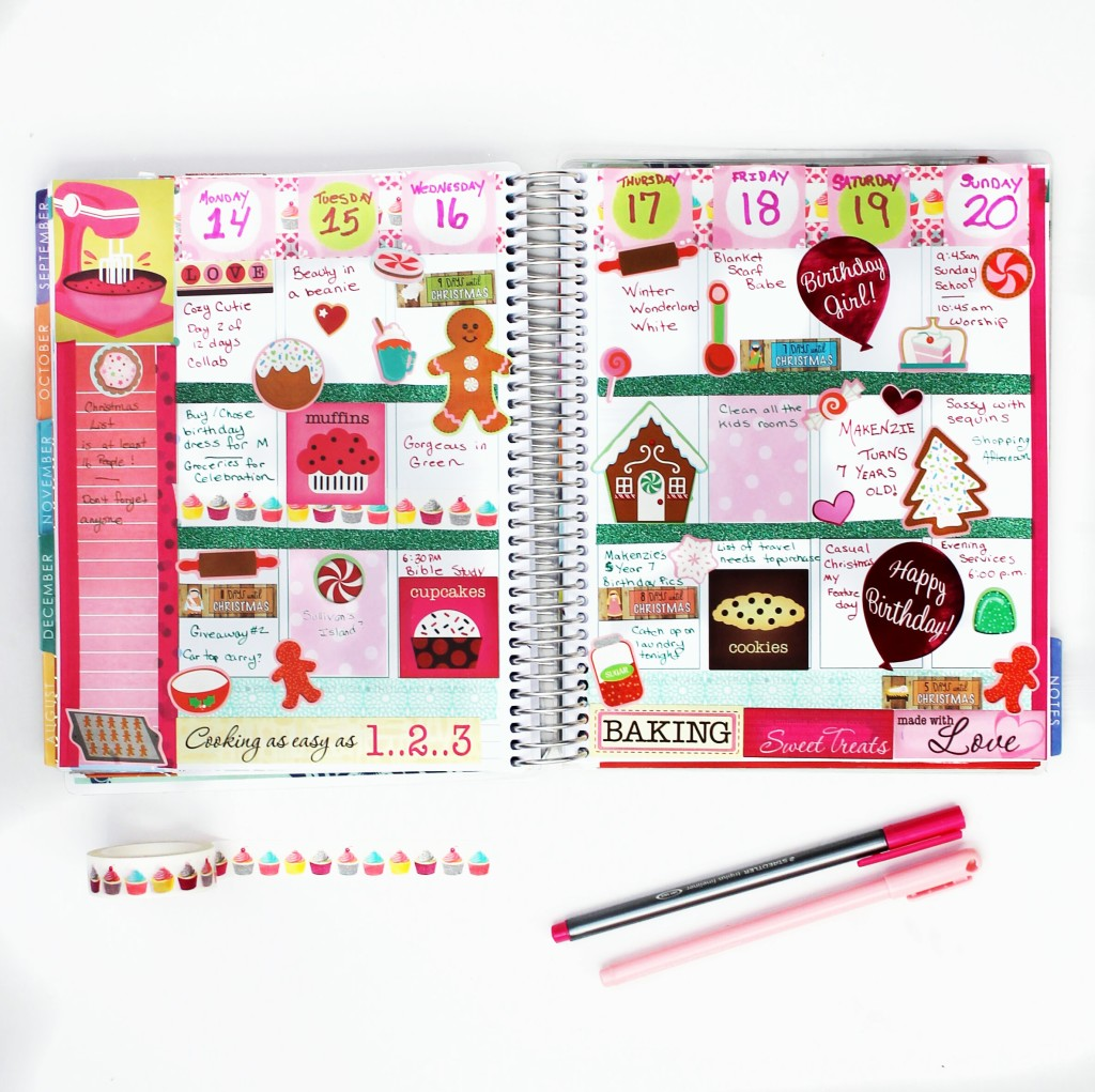 December week 3 decorated baking, cooking theme planner spread #ECPlanner