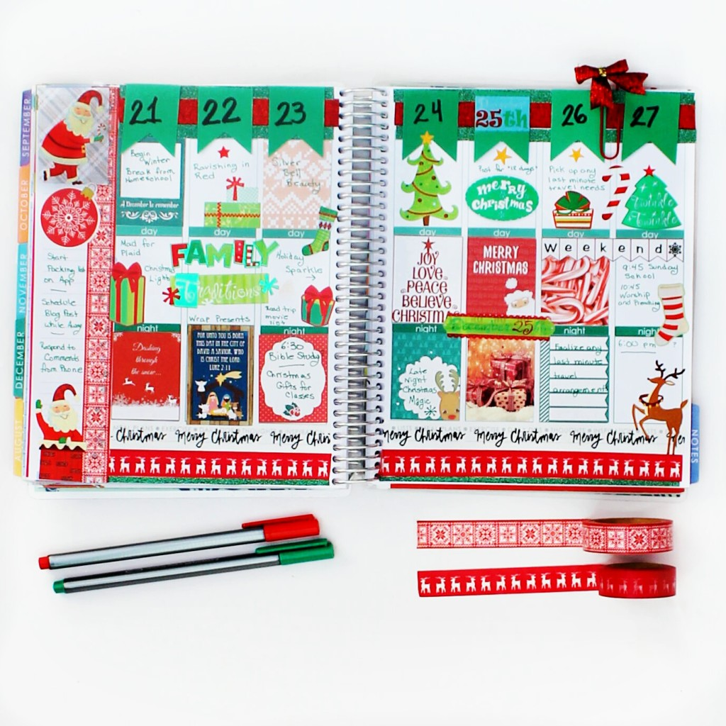 christmas decorated weekly planner pages, Erin Condren Life Planner #ECPlannere