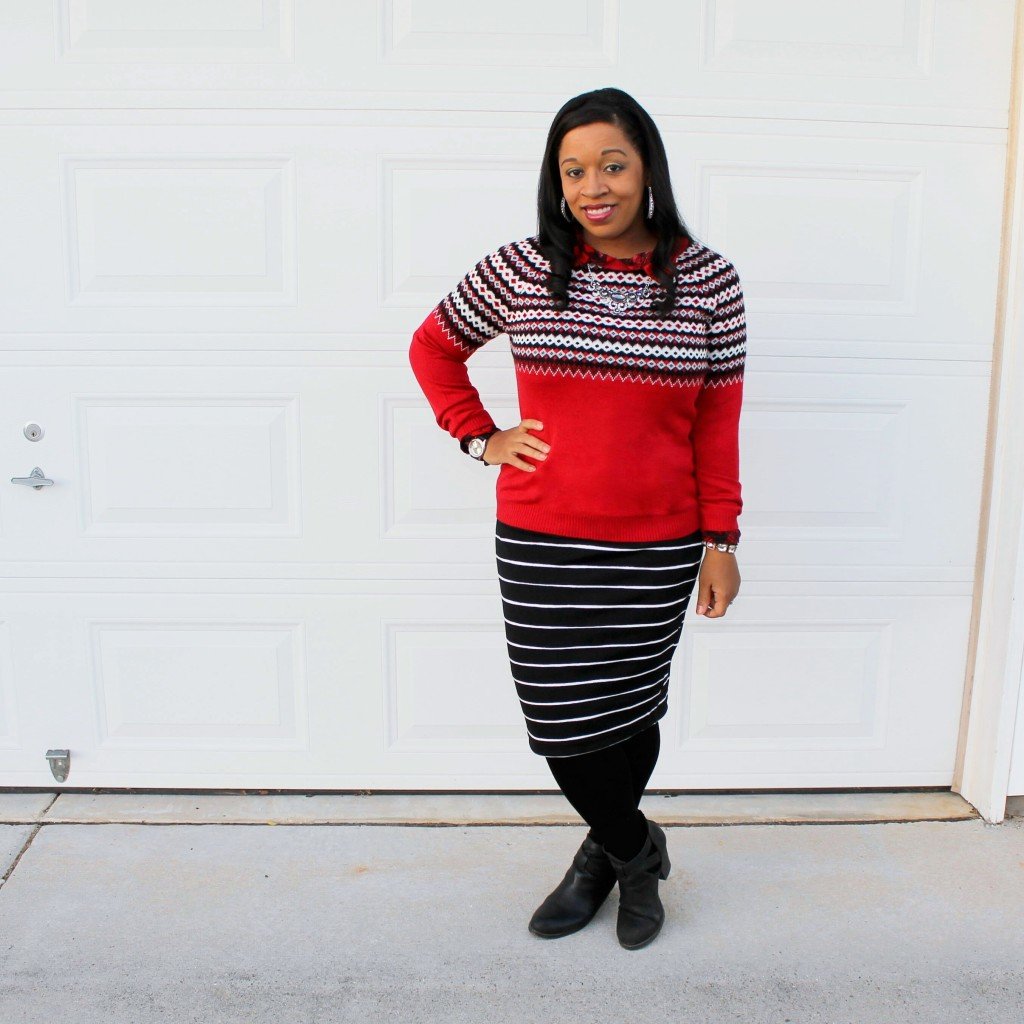 red and black and white fairisle sweater with black and white striped skirt, modest holiday outfit idea