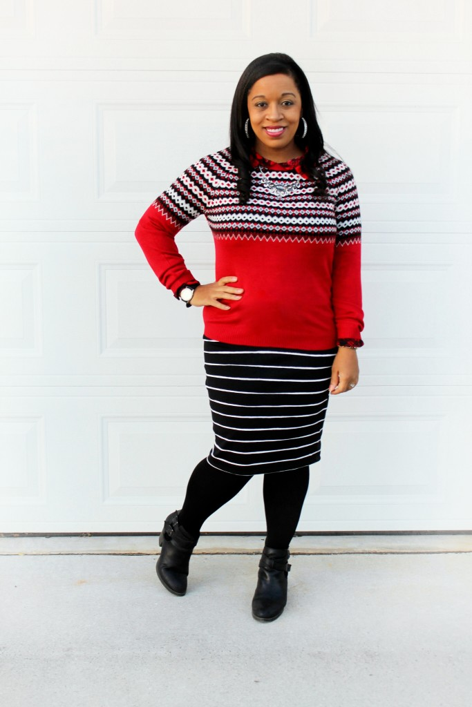 red christmas sweater with black and white striped skirt, easy modest Christmas outfit