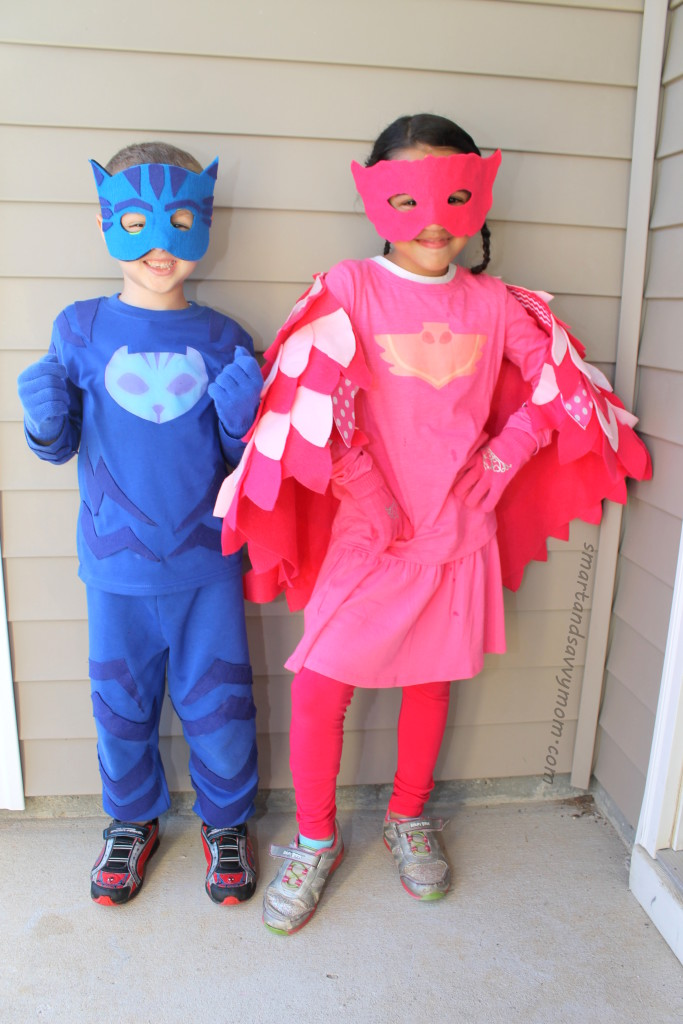 diy pj masks costume, no sewing how to catboy and owlette