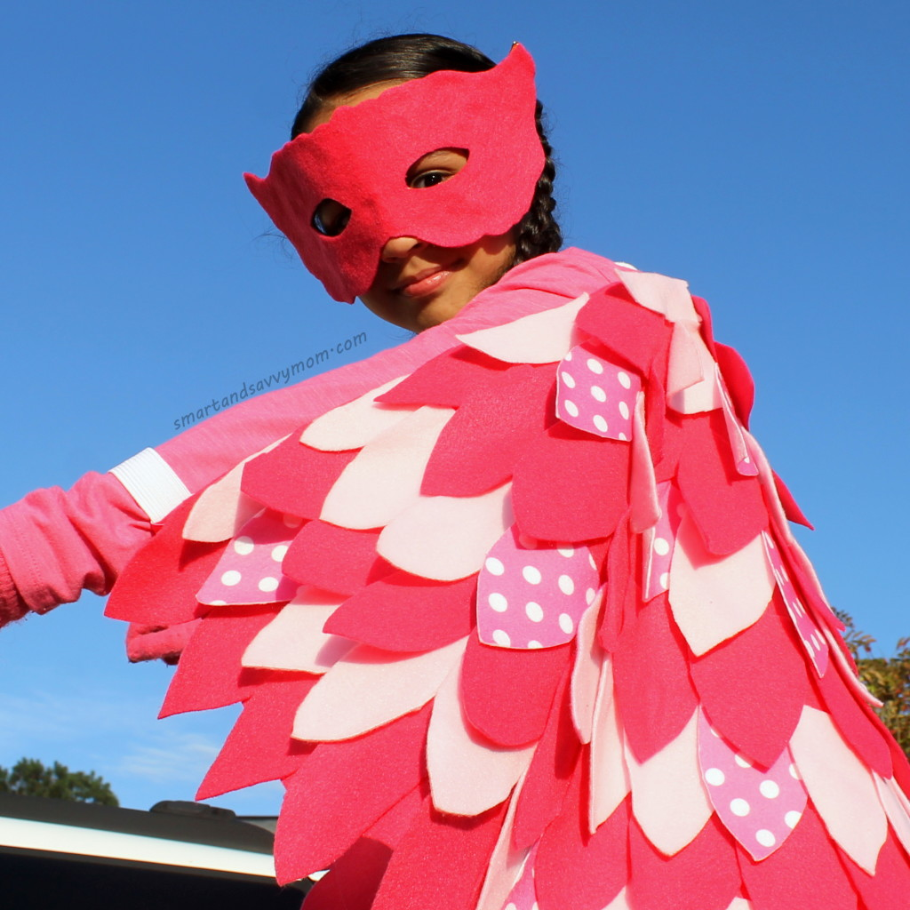 owlette costume, no sew, diy, do it yourself pj masks costume