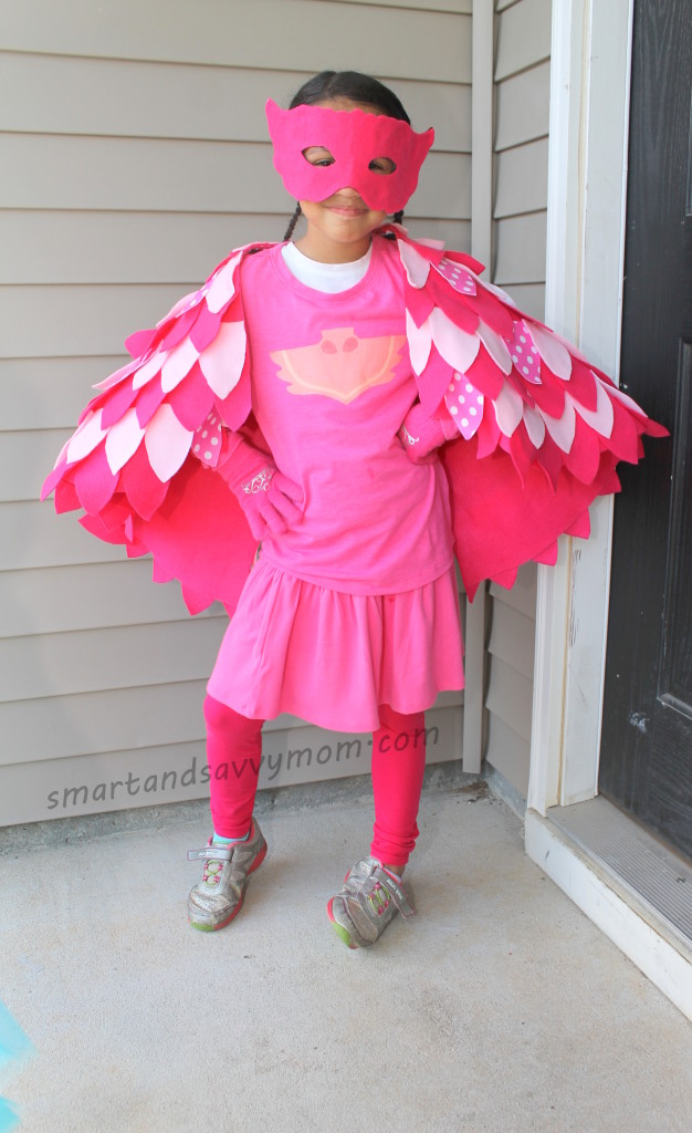 no sew, pj masks costume owlette, diy halloween costume