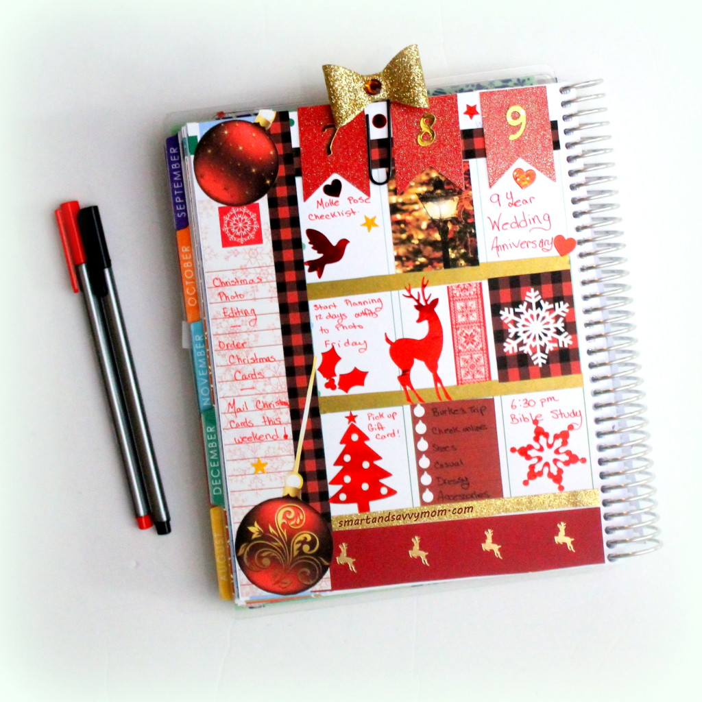 red and gold christmas decorated planner #ECPlanner