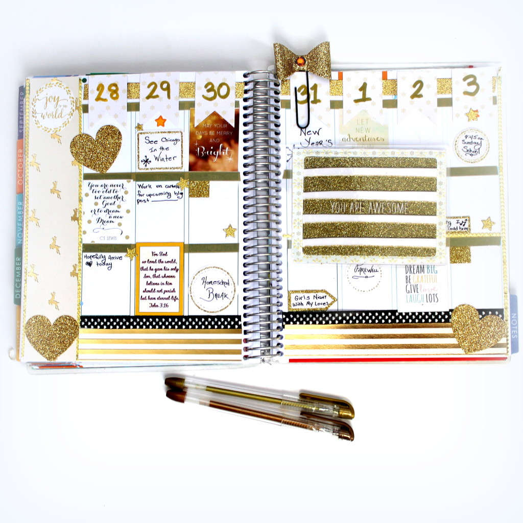 New Year's Eve decorated planner pages in black and gold. Erin Condren Life Planner #ECPlanner
