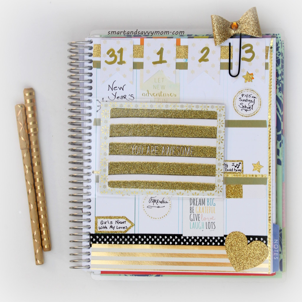 black and gold New Year decorated planner pages. Erin Condren Life Planner #ECPlanner