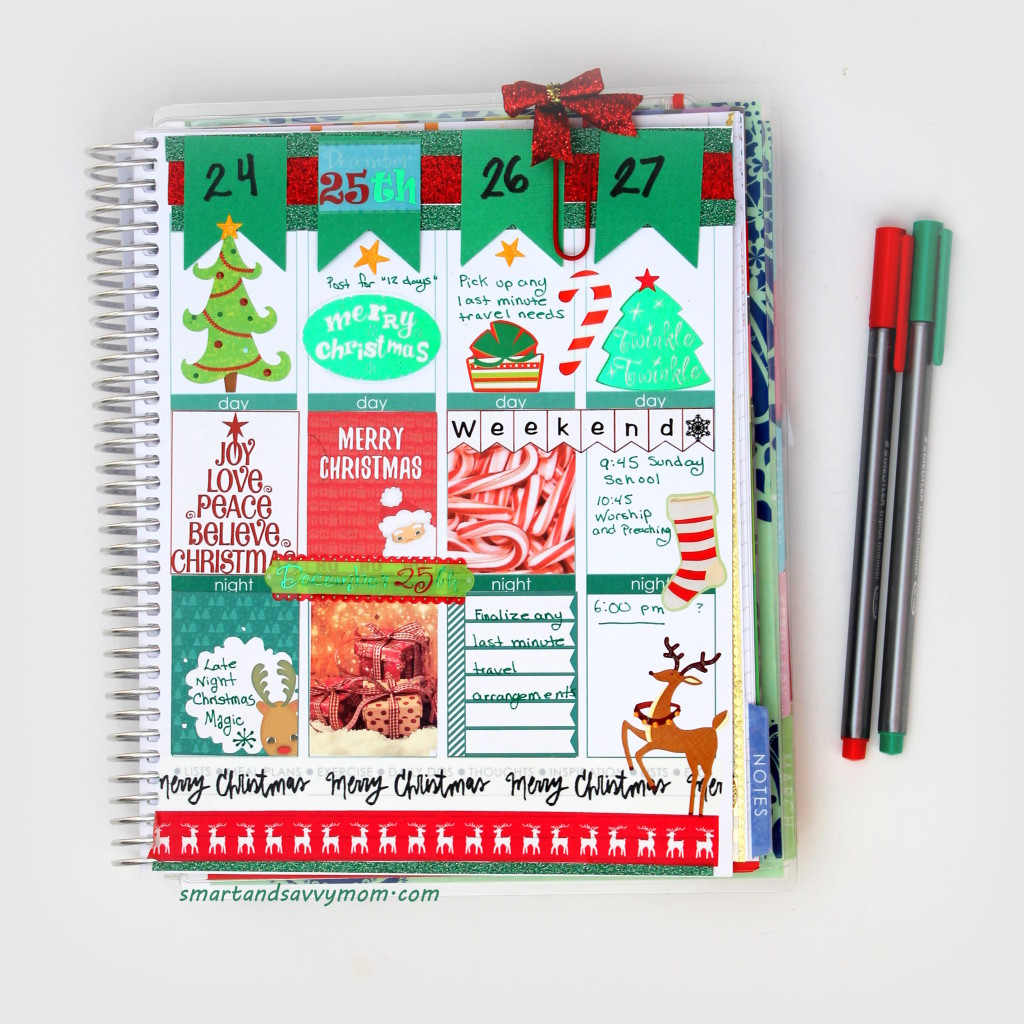 christmas decorated planner pages. Erin Condren Life Planner #ECPlanner