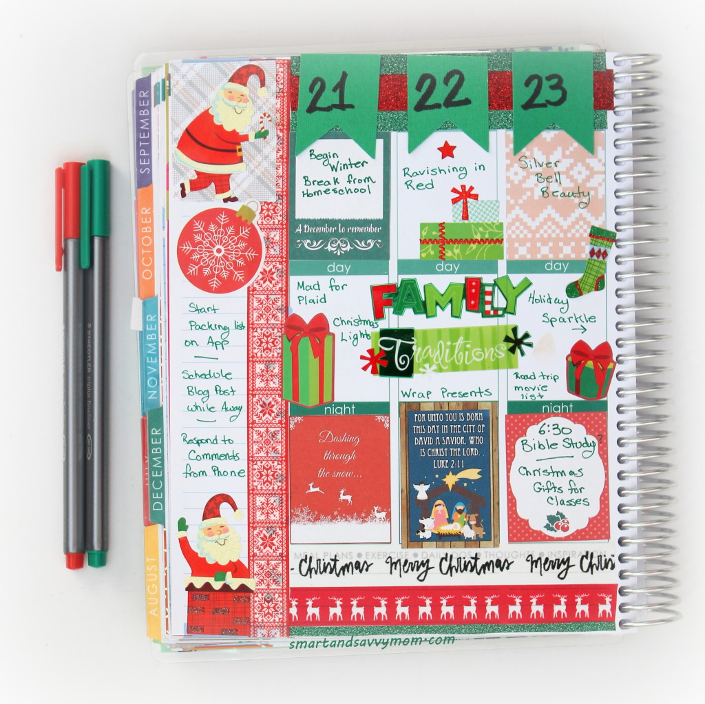 christmas decorated planner pages Erin Condren Life Planner #ECPlanner