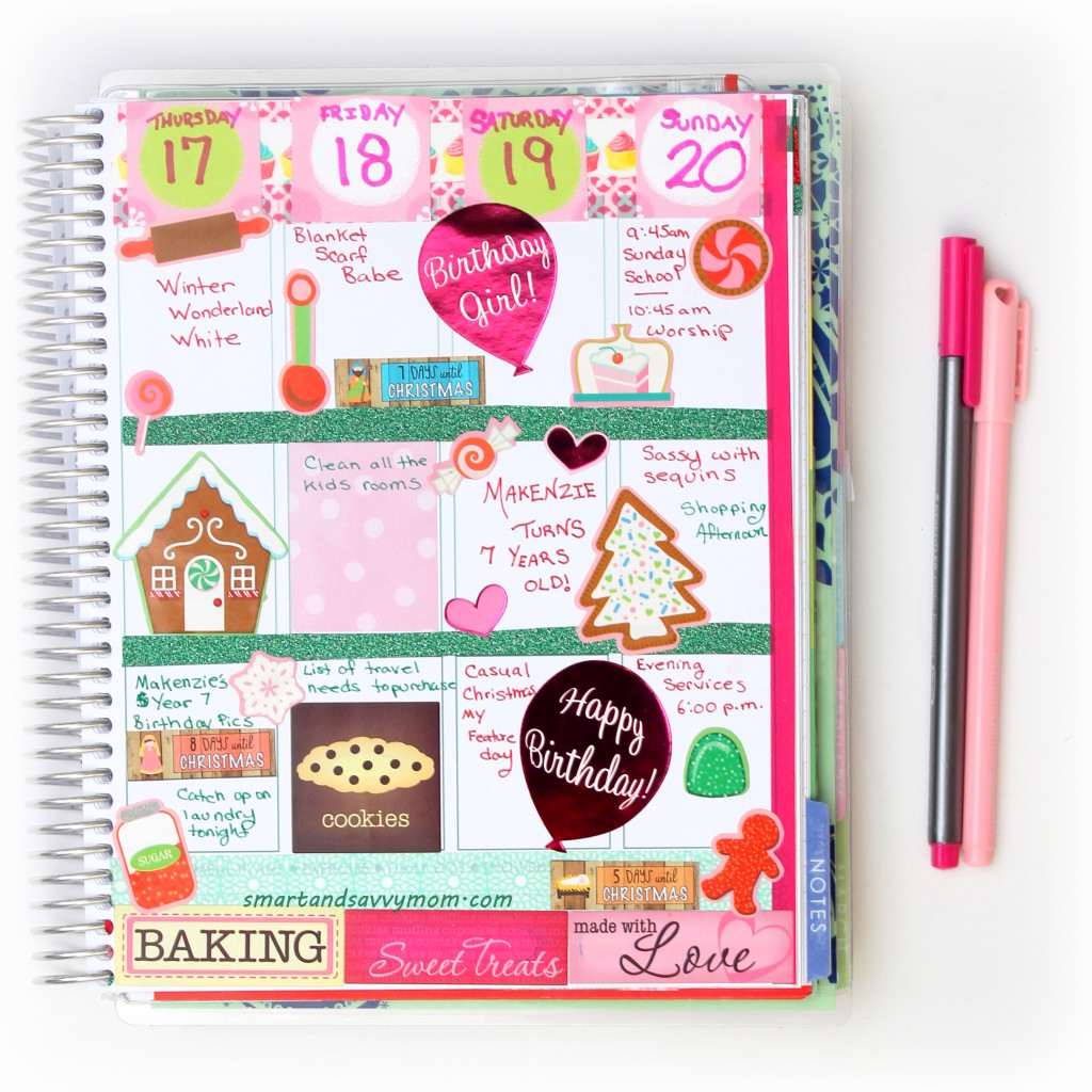pink and green holiday baking planner decorating idea #ECPlanner