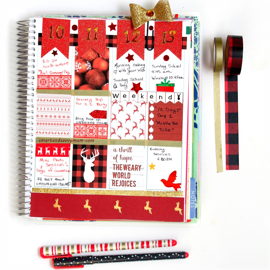 red and gold christmas decorated planner pages idea; #ECPlanner