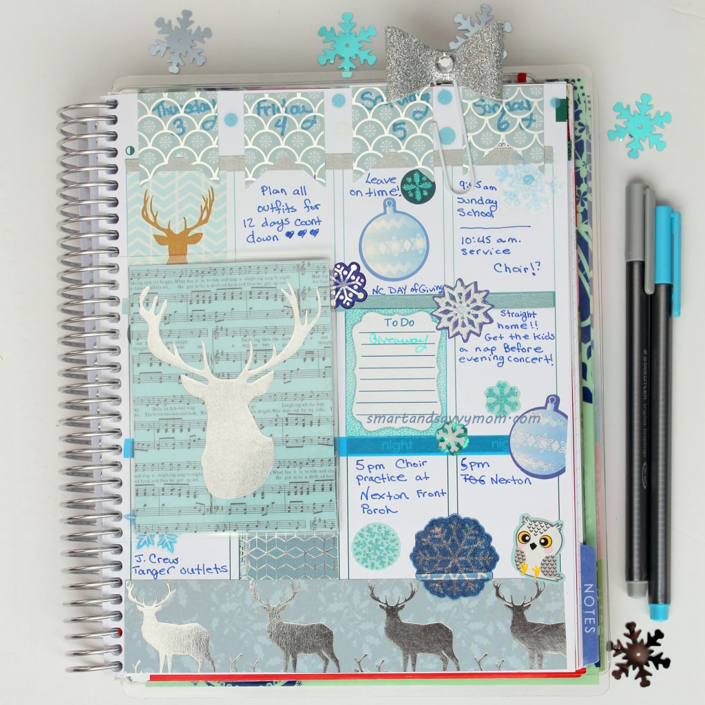 deer silhouette decorated winter planner #ECPlanner