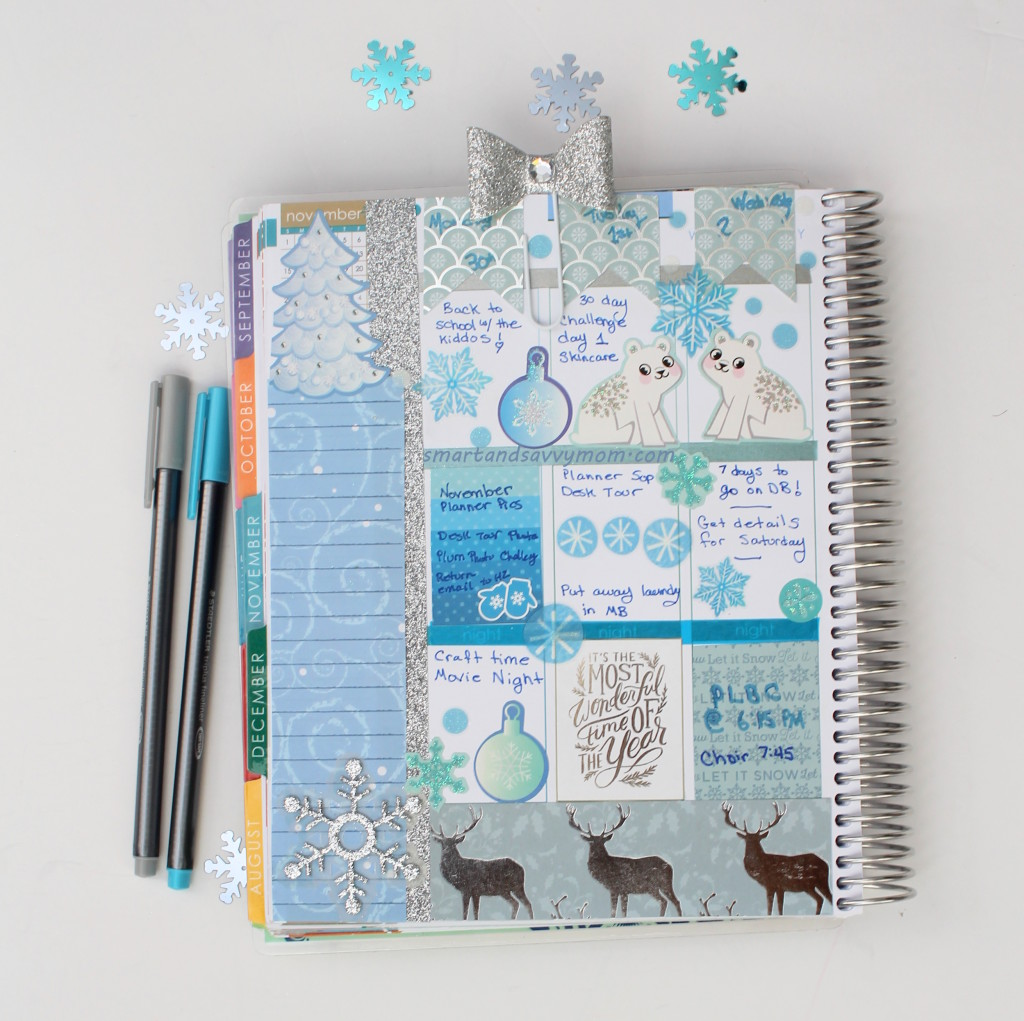 winter blue #ecplanner decorated weekly spread