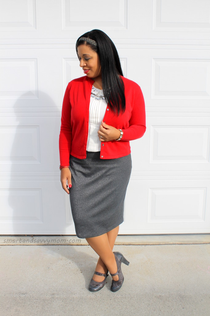 red and white and silver easy modest holiday outfit idea