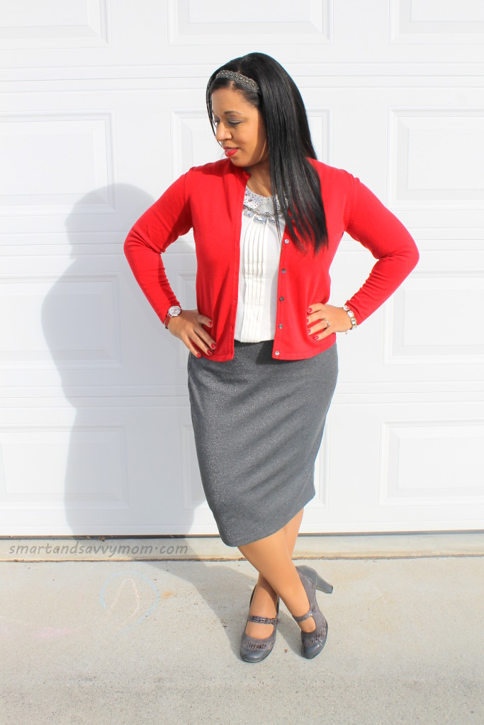 embellished white peter pan top with red cardigan and silver gray skirt, modest christmas outfit idea