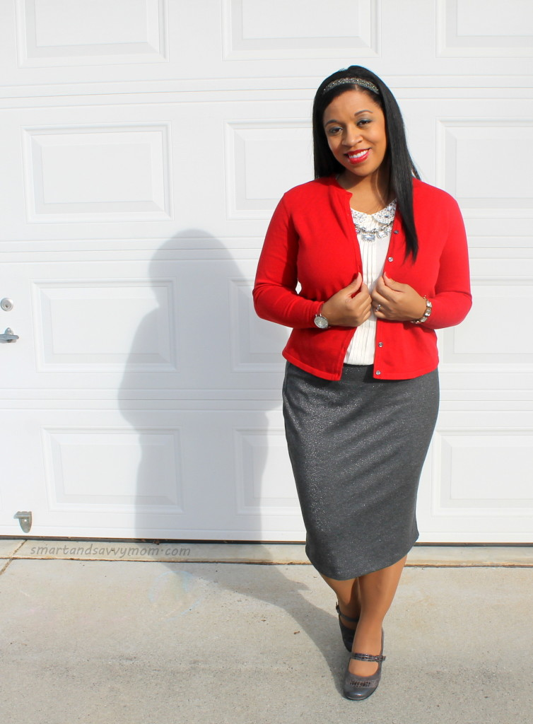 red and silver peter pan collar modest holiday outfit idea
