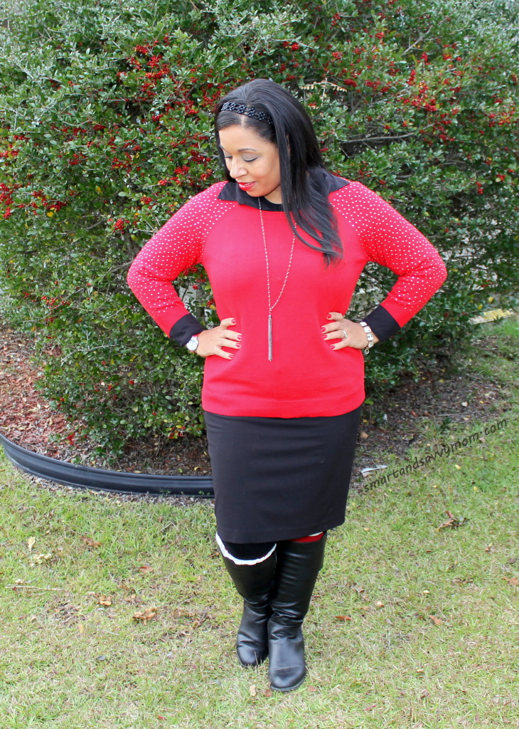 red sweater and black pencil skirt modest christmas outfit idea