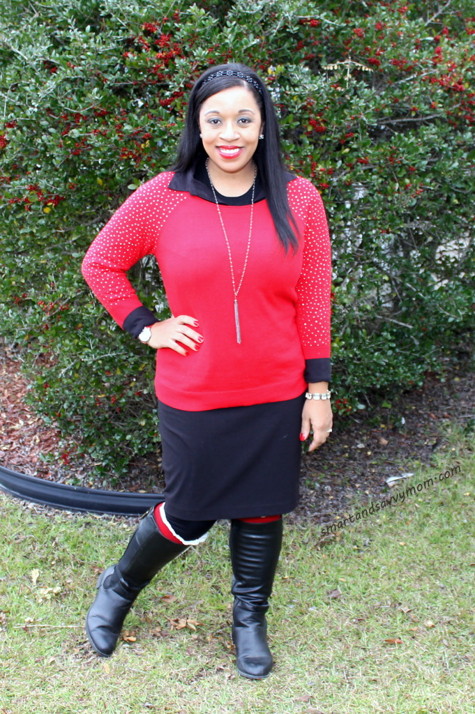 red and black modest christmas outfit idea