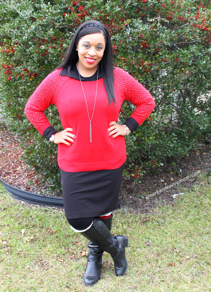 sparkly red sweater, tassel necklace and red boot socks, modest outfit idea