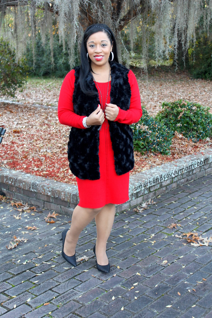 black fur vest outfit, red sweater dress modest holiday outfit, modest christmas outfit