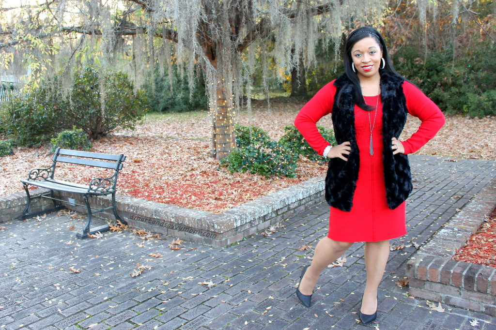red holiday sweater dress and fur vest, modest outfit idea from #burkesoutlet
