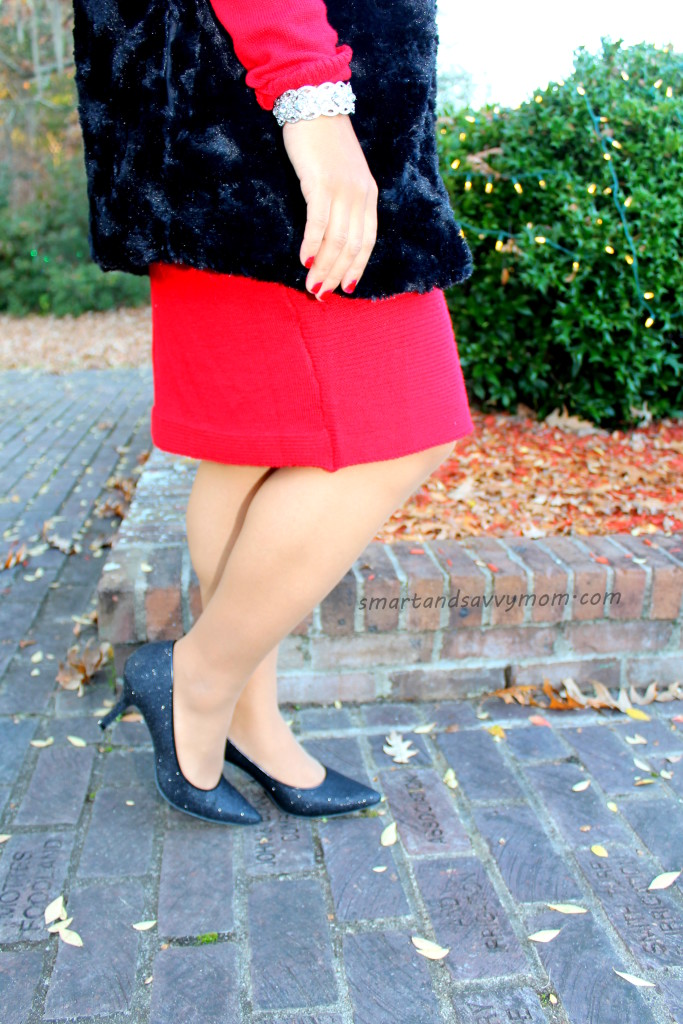 black sparkle shoes and red sweater dress christmas outfit
