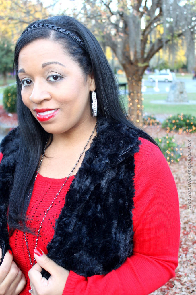 #burkesoutlet holiday outfit; red sweater dress