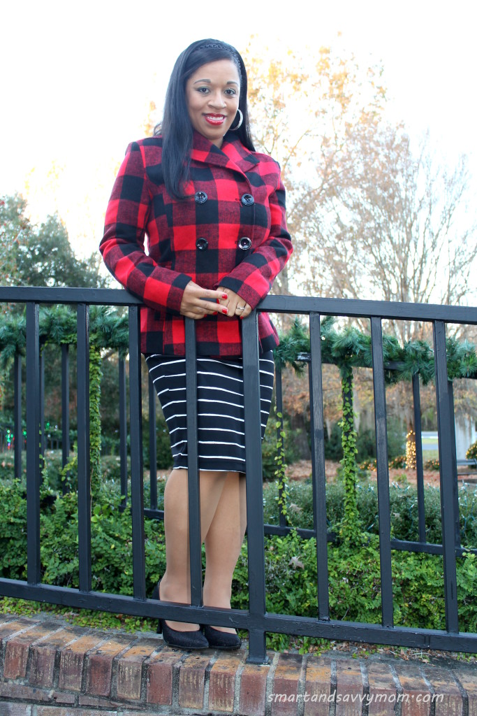 buffalo plaid coat and striped skirt modest outfit
