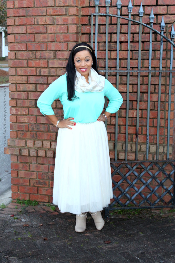 mint, tulle and gold winter holiday modest outfit