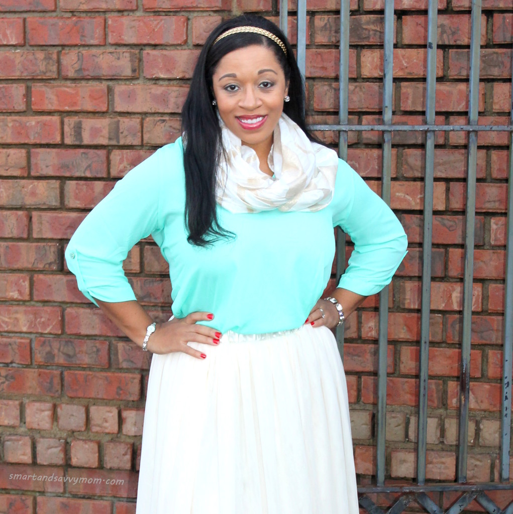 mint blouse with gold scarf and tulle skirt, modest holiday outfit idea