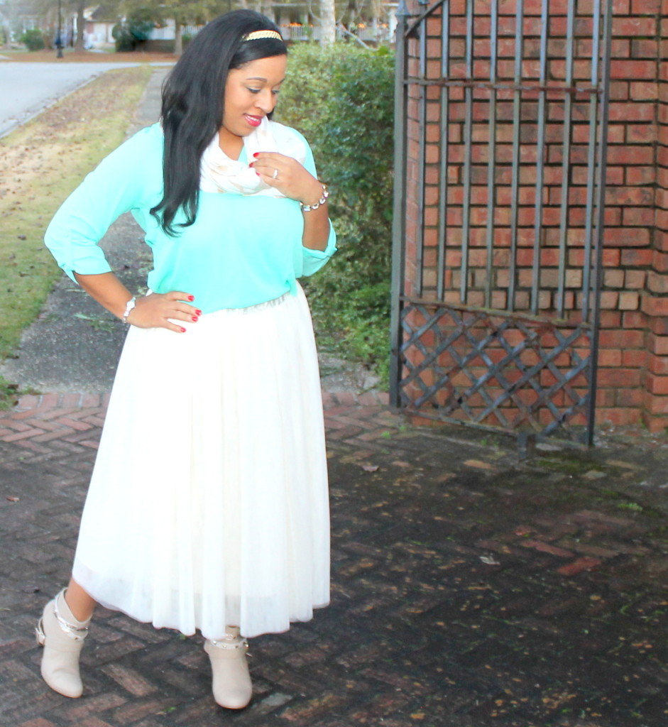 beige tulle skirt, with boots, modest holiday christmas outfit