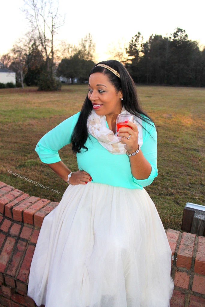 white tulle and mint top #burkesoutlet holiday outfit