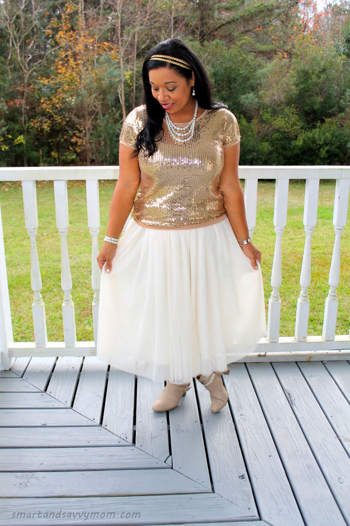 gold sequin top and tulle skirt modest outfit idea