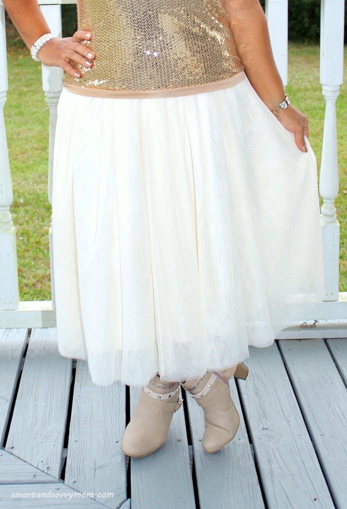 beighe tulle skirt and taupe boots, modest holiday outfit idea