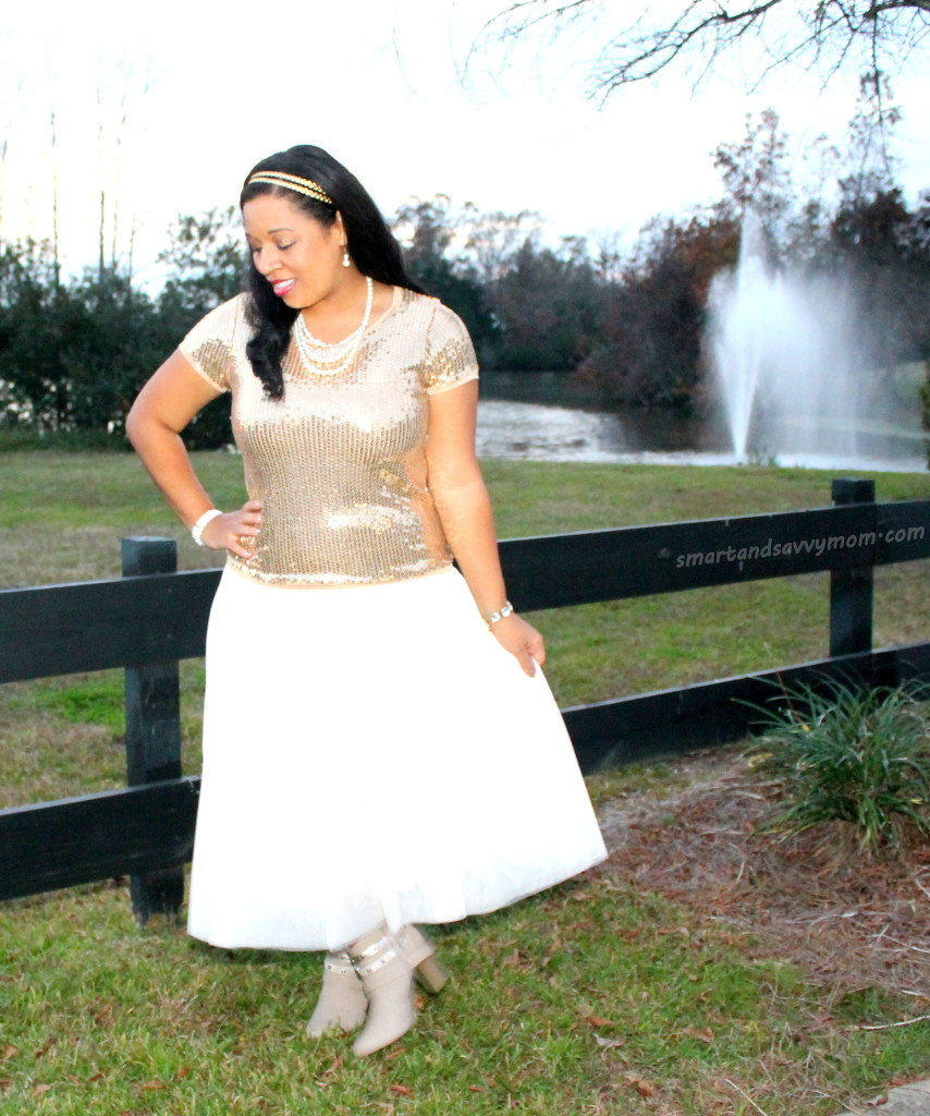 gold sequin and beige tulle skirt modest holiday outfit idea