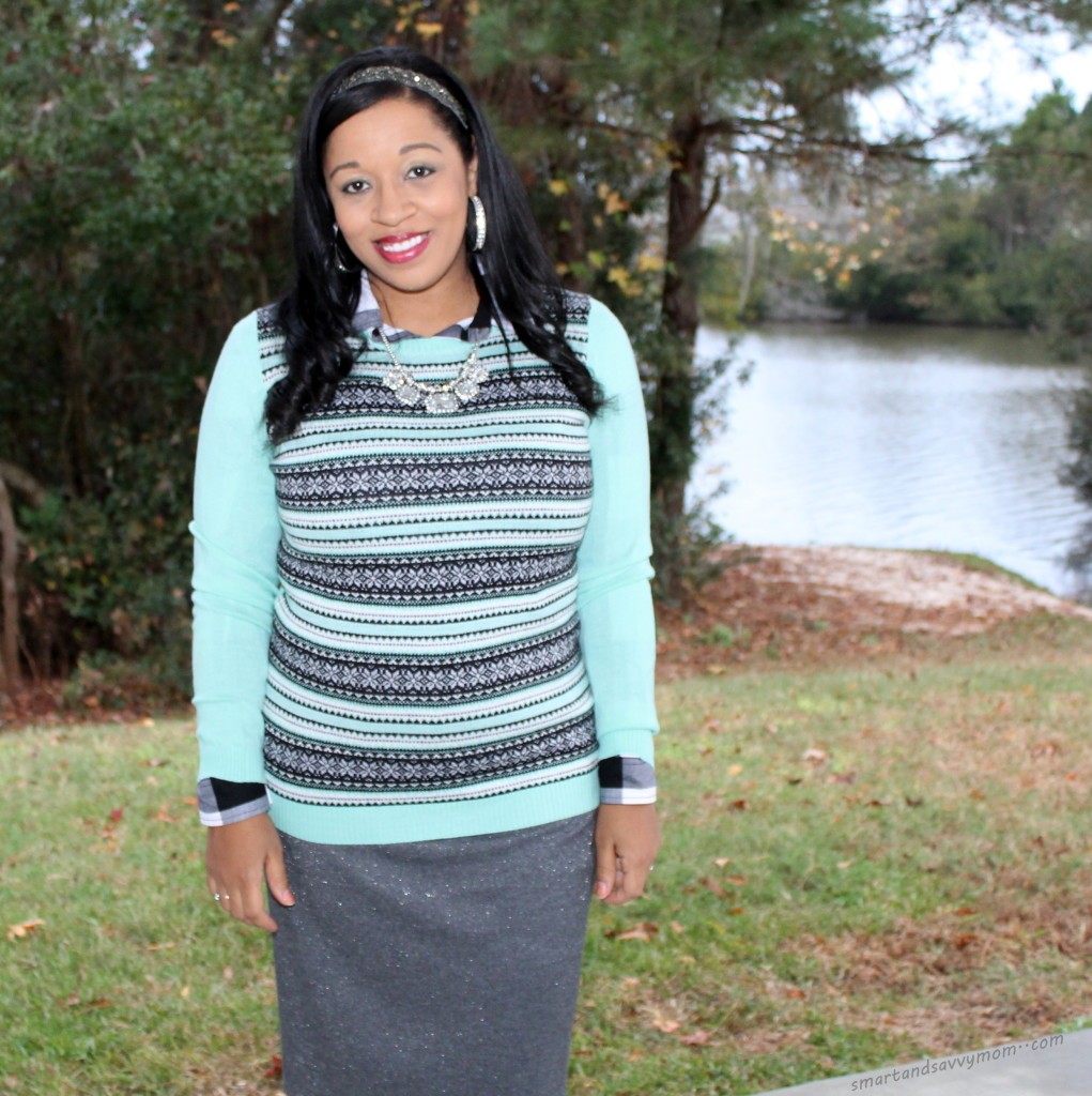 mint green and gray, casual and modest christmas outfit idea