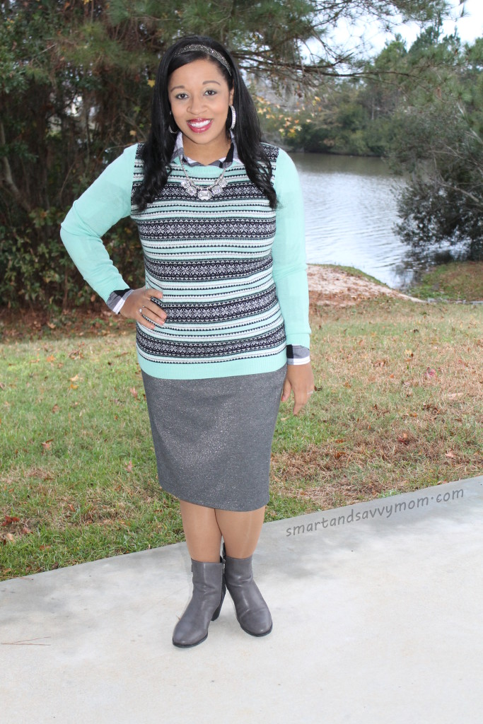 mint and gray casual holiday modest christmas outfit idea