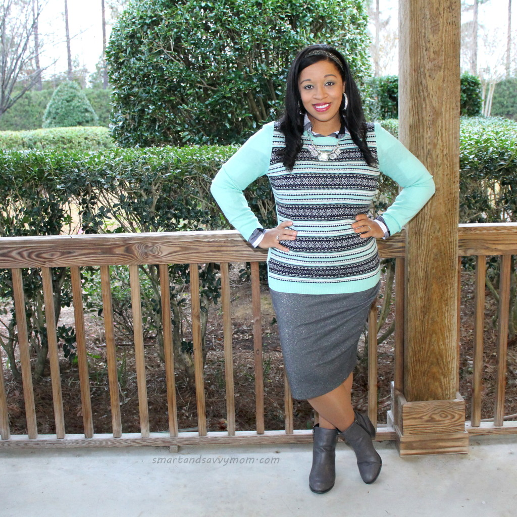 winter blue and silver gray modest holiday outfit idea