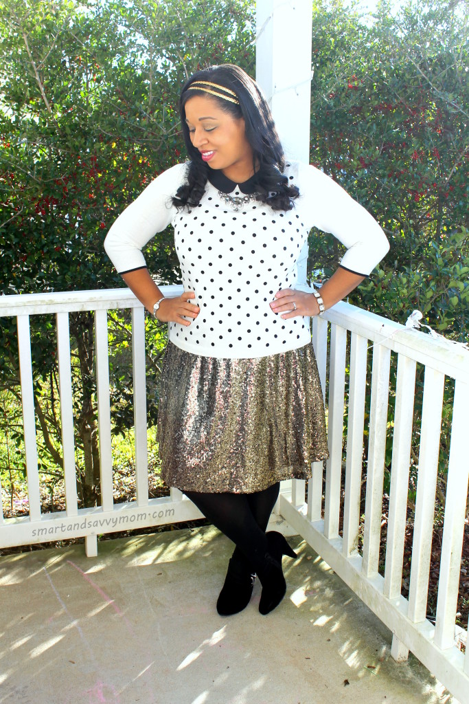 black and white polka dot peter pan collar sweater and gold sequined skirt