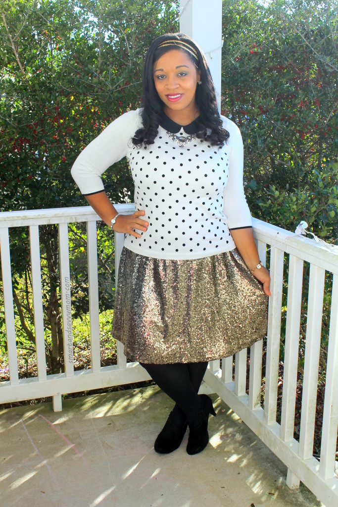 white and black polka dot sweater with gold sequin skirt, modest holiday outfit idea new year's eve outfit