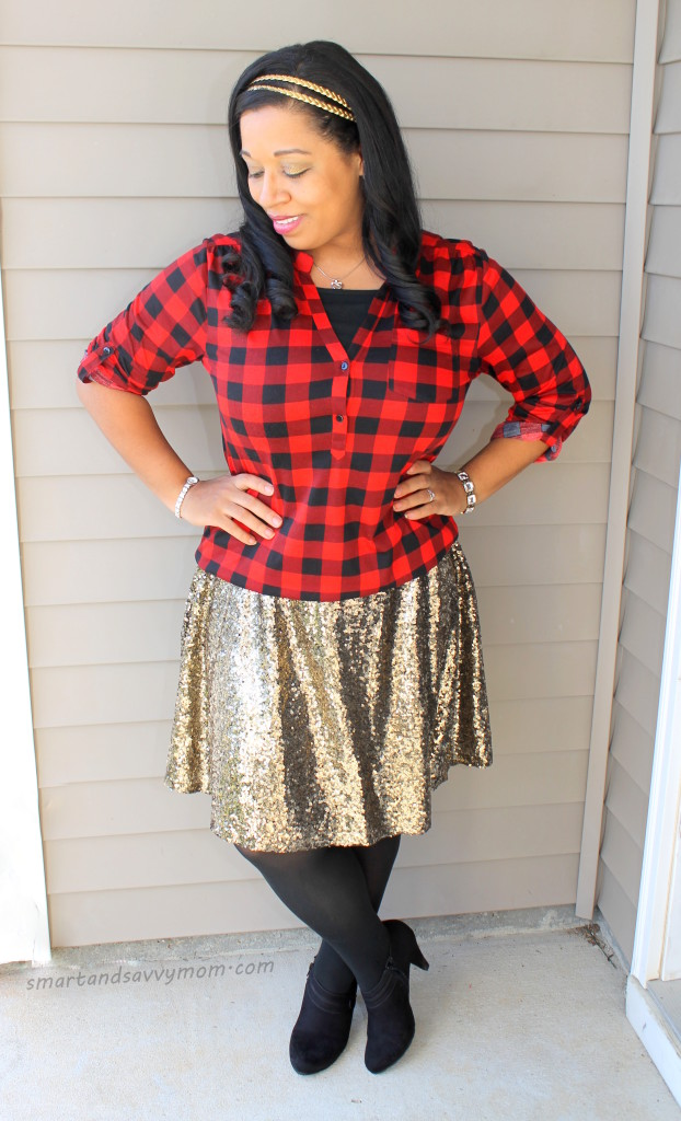 red buffalo plaid top and gold sequin skirt, modest holiday outfit