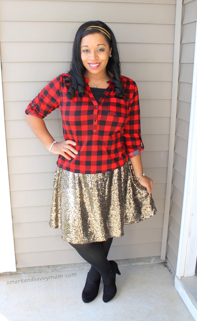 red and black buffalo plaid top and gold sequin skirt modest outfit