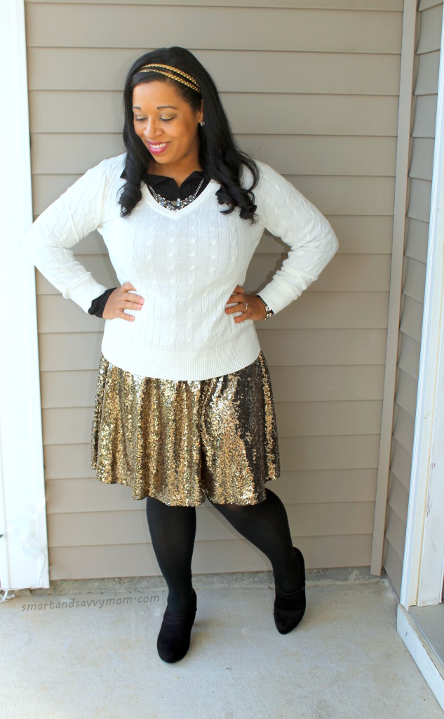 white cable knit sweater and gold sequin skirt modest outfit