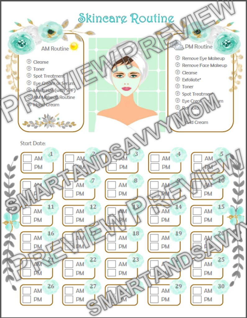30 day skincare routine printable preview